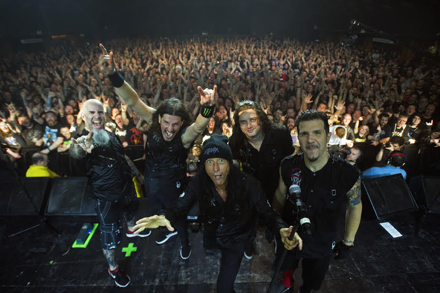 Anthrax on stage at Barrowland Ballroom, Glasgow, February 15, 2017 L-R: Scott Ian, Frank Bello, Joey Belladonna, Jonathan Donais, Charlie Benante Picture © Andy Buchanan 2017